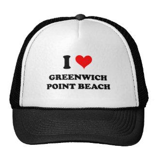 Amo la playa Connecticut del punto de Greenwich Gorros Bordados