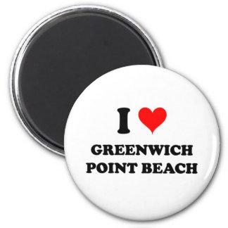 Amo la playa Connecticut del punto de Greenwich Iman Para Frigorífico