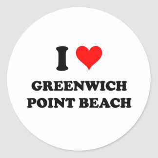 Amo la playa Connecticut del punto de Greenwich Etiqueta Redonda