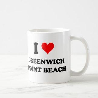 Amo la playa Connecticut del punto de Greenwich Tazas De Café
