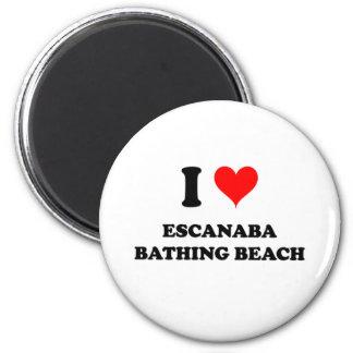 Amo la playa de baño de Escanaba Imán Redondo 5 Cm