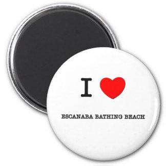 Amo la playa de baño de Escanaba Michigan Imán Redondo 5 Cm