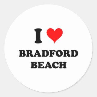 Amo la playa de Bradford Pegatina Redonda