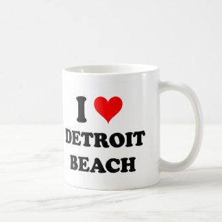 Amo la playa de Detroit Taza Básica Blanca