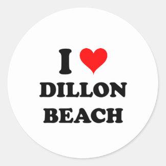 Amo la playa de Dillon Pegatina Redonda