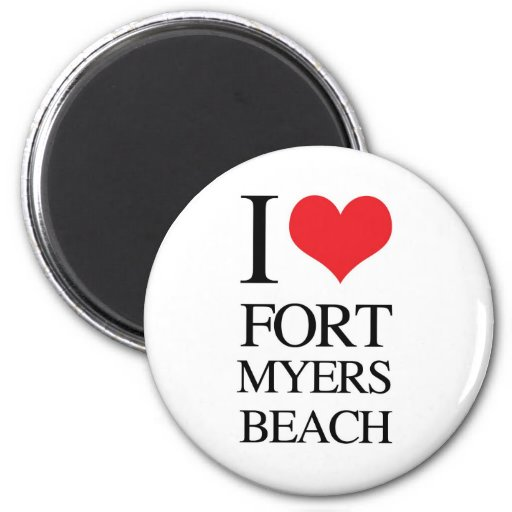 Amo la playa de fuerte Myers Imán Redondo 5 Cm