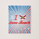 Amo la playa de Juno, la Florida Rompecabeza
