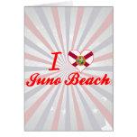 Amo la playa de Juno, la Florida Tarjeton