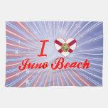 Amo la playa de Juno, la Florida Toallas De Cocina