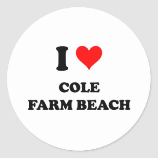 Amo la playa de la granja del col etiqueta redonda