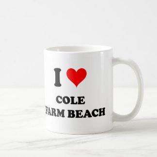 Amo la playa de la granja del col taza de café