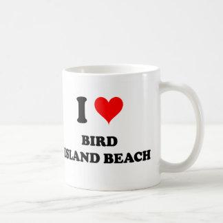 Amo la playa de la isla de pájaro taza de café