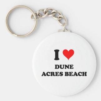 Amo la playa de los acres de la duna llavero redondo tipo pin