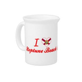 Amo la playa de Neptuno, la Florida Jarras Para Bebida