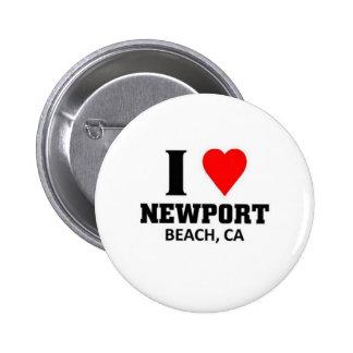 Amo la playa de Newport Pin Redondo De 2 Pulgadas