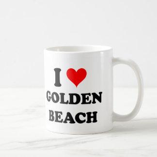 Amo la playa de oro Michigan Taza Básica Blanca