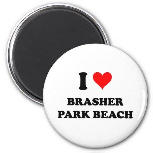 Amo la playa del parque de Brasher Imán Redondo 5 Cm