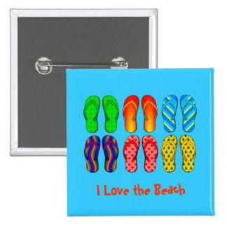 Amo la playa - flips-flopes coloridos pin