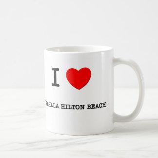 Amo la playa Hawaii de Kahala Hilton Tazas De Café