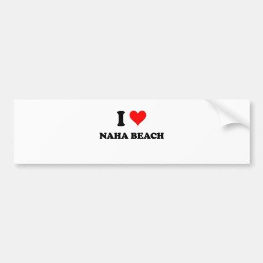 Amo la playa Hawaii de Naha Etiqueta De Parachoque