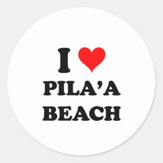 Amo la playa Hawaii de Pila A Etiqueta Redonda