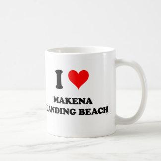 Amo la playa Hawaii del aterrizaje de Makena Taza Básica Blanca