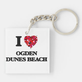 Amo la playa Indiana de las dunas de Ogden Llavero Cuadrado Acrílico A Doble Cara