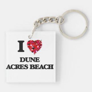 Amo la playa Indiana de los acres de la duna Llavero Cuadrado Acrílico A Doble Cara