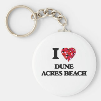Amo la playa Indiana de los acres de la duna Llavero Redondo Tipo Pin