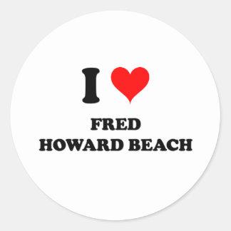 Amo la playa la Florida de Fred Howard Pegatinas Redondas