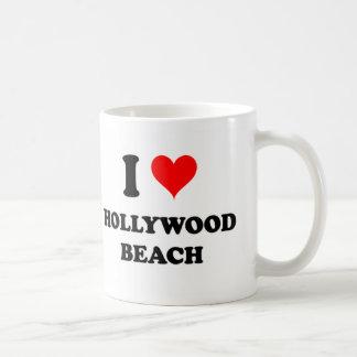 Amo la playa la Florida de Hollywood Taza