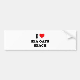 Amo la playa la Florida de la avena del mar Etiqueta De Parachoque