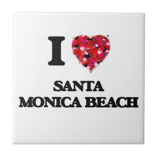 Amo la playa la Florida de Santa Mónica Azulejo Cuadrado Pequeño