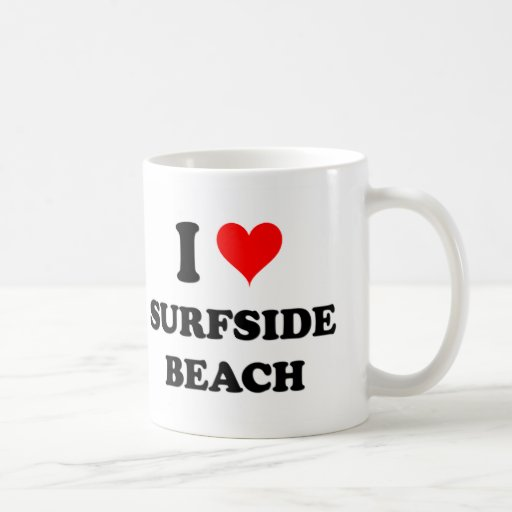 Amo la playa la Florida de Surfside Tazas De Café