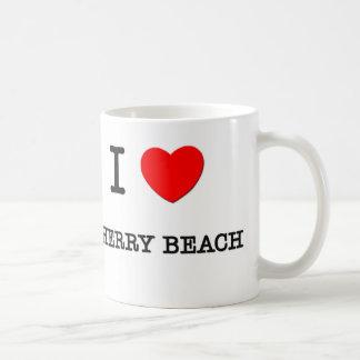 Amo la playa Michigan de la cereza Taza Básica Blanca