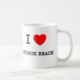 Amo la playa Michigan de la iglesia Taza Básica Blanca