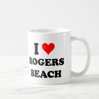 Amo la playa Michigan de Rogers Taza Básica Blanca