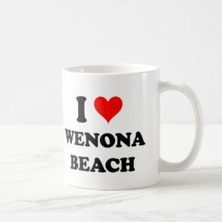 Amo la playa Michigan de Wenona Taza Básica Blanca