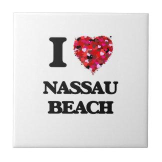Amo la playa Nueva York de Nassau Azulejo Cuadrado Pequeño