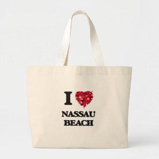 Amo la playa Nueva York de Nassau Bolsa Tela Grande