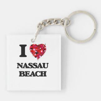 Amo la playa Nueva York de Nassau Llavero Cuadrado Acrílico A Doble Cara