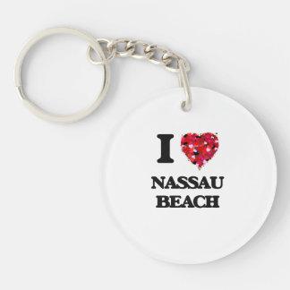 Amo la playa Nueva York de Nassau Llavero Redondo Acrílico A Una Cara