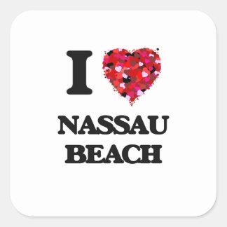 Amo la playa Nueva York de Nassau Pegatina Cuadrada
