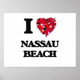 Amo la playa Nueva York de Nassau Póster
