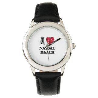 Amo la playa Nueva York de Nassau Reloj De Mano