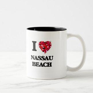 Amo la playa Nueva York de Nassau Taza Dos Tonos