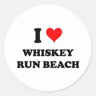 Amo la playa Oregon del funcionamiento del whisky Pegatina Redonda