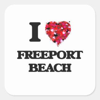 Amo la playa Pennsylvania del puerto franco Pegatina Cuadrada