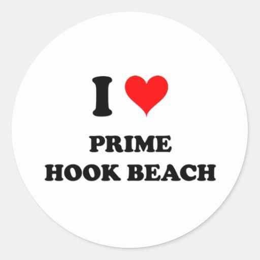 Amo la playa primera Delaware del gancho Pegatina Redonda