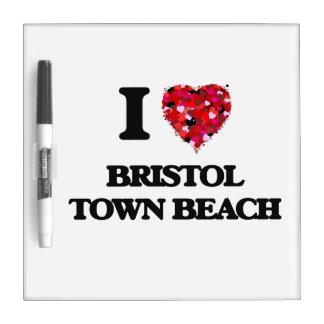 Amo la playa Rhode Island de la ciudad de Bristol Pizarras Blancas De Calidad